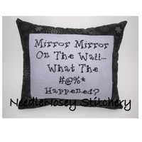 Cross Stitch Pillow Funny Quote Black and Gray by NeedleNosey