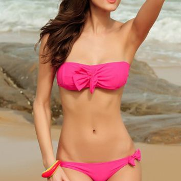 Decorative Bow Sexy Swimwear Swimsuit