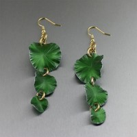 Three Tiered Green Anodized Aluminum Lily Pad Earrings
