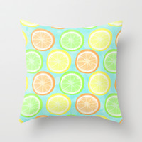 Citrus Wheels (Aqua) Throw Pillow by Lisa Argyropoulos | Society6