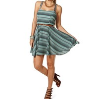 Turquoise Criss Cross Printed Short Dress