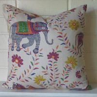 Elephant blockprint by John Robshaw accent pillow throw pillow designer pillow