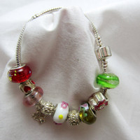 Pandora Style Charm Bracelet with Murano Glass Style Beads, Crystal Cut Beads with Silver Accent Beads