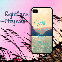 QUOTE IPHONE 5S CASE I Will Wait For You Text iPhone Case Deep Blue Sea Phone 4S iPhone 5C Case Samsung Galaxy S4 S3 iPhone 5 iPhone 4 Cover