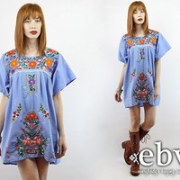 Lavender Mexican Dress Embroidered Dress Hippie Dress Hippy Dress Boho Dress Festival Dress Vintage 70s Embroidered Mini Dress L XL