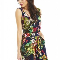 Tropical Printed Backless Romper