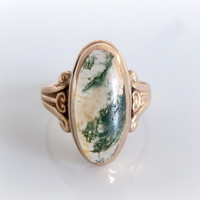 Victorian Moss Agate Ring - Natural Stone Vintage Gold Ring - Moss Agate Antique Ring - Rose Gold Art Deco Ring - Fine Jewelry - Size 5.5