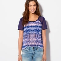 AE STRIPED CHIFFON T-SHIRT