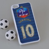 MagicPieces Plastic Snap on Case with Shaking Rhinestones for iPhone FIFA World Cup 2014 FFF BENZEMA 10 for iPhone5 Color White