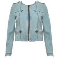 alice + olivia | CAM DENIM ZIPPER SLEEVE BIKER JACKET