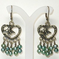 Sage Green Freshwater Pearls w Antique Brass Heart Chandelier Earrings | KatsAllThat - Jewelry on ArtFire