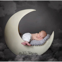 PJ's Moon Prop Painted, Newborn photography prop, baby Prop, Newborn prop