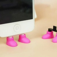 ZOEAST Creative 2 in 1 Cute 8 Colors Shoes iPhone Stand Data Port Dust Plug Smart Phone Shoes Dust Stopper Dustproof Charm iPhone 4 4S 5 5C 5S Samsung Shoe Phone Stand (iPhone 5/5C/5S, Pink)