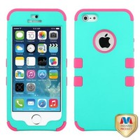 MYBAT Rubberized Teal Green/Electric Pink TUFF Hybrid Phone Protector Cover for APPLE iPhone 5 APPLE iPhone 5s