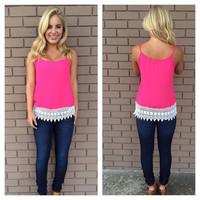 Turn Over a New Leaf Top- Fuchsia