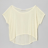 Ivory Mesh Hi-Low Crop Top - Girls | something special every day