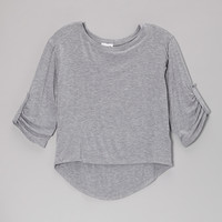 Heather Gray Three-Quarter Sleeve Tee - Girls | something special every day