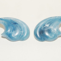 Vintage Nautical Ocean Waves Clip on Earrings