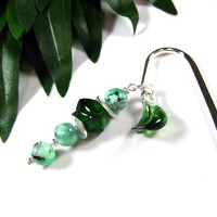 Silver Bookmark with Green Water Stain Beads, Hand Blown Glass Leaf