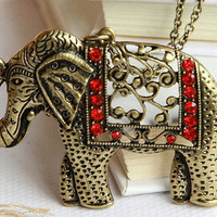 vintage hollow style beautiful Elephant necklace by qizhouhuang