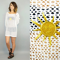 vintage 1990's oversized ASTROLOGY SUN see thru GRUNGE beach resort cover-up, extra small-large