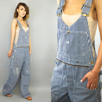 vintage 1970's lee PAINT SPLATTERED railroad striped conductor OVERALLS dungarees coveralls, extra small-medium