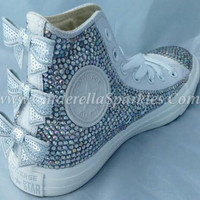 White Chuck Taylor High Top Crystal Rhinestone Converse with seuin bow - Mono leather