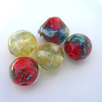 Lampwork Beads, Handmade Jewery Supplies wit Silver and Silvered Glass for Lampwork Jewelry