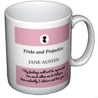 Pride and Prejudice Pink Mug, Mr Darcy's Proposal, You Must Allow Me... Quote, Jane Austen, UK