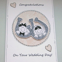 Personalised Congratulations Wedding Lucky Horseshoe Couple Card