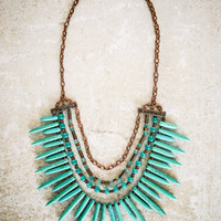 Turquoise Copper Spike Tiered Vintage Rustic African Layered Bohemian Boho Gypsy Beaded Statement Bib Bubble Choker Collar Layered Necklace