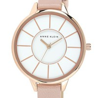 Anne Klein Round Slim Leather Strap Watch, 38mm | Nordstrom