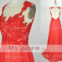 2014 Prom Dress,Straps Lace Beads Chiffon Red Prom Dress, Wedding Dress, Evening Gown,Formal Dresses,Evening Dress