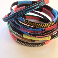 Tribal African stackable colorful bracelets bangles- set of 10