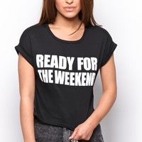 "Camilla Black ""Ready for the Weekend"" Slogan Tee - Tops - prettylittlething.com 