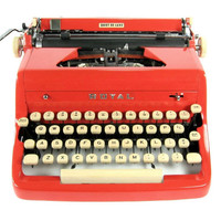 1957 Red Royal Quiet DeLuxe Typewriter / Original Case / Vintage Metal Ribbon Spools / Working Typewriter