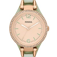 Fossil 'Georgia' Crystal Bezel Leather Strap Watch, 32mm | Nordstrom