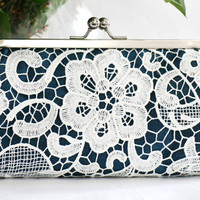 White Lace Clutch in Navy Blue 8inch L'HERITAGE by ANGEEW on Etsy