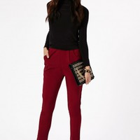 Missguided - Kimbriella Oversized Pocket Trousers In Burgundy