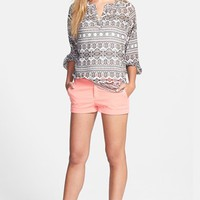Caslon® Flat Front Stretch Cotton Shorts | Nordstrom