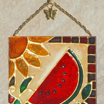 Watermelon Art Stain Glass Panel Stain Glass Watermelon Suncatcher Watermelon Kitchen Theme Watermelon Wall Art Watermelon Decor Decoration