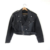 Vintage Wilson's black leather motorcycle jacket. leather moto coat. women's large