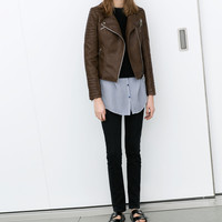 LEATHER-EFFECT BIKER JACKET WITH ZIPS