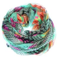 Vibrant Tribal Geometric Lightweight Infinity Loop Scarf