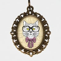 Cat With Glasses Necklace Oval Pendant