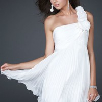 Wholesale Short Mini Custom Free Shipping One shoulder White Organza Cocktail Dress