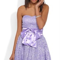 Strapless Short Prom Dress with Metallic Lace and Circle Skirt