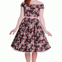 Blossom into a springtime trend with the Sweet & Modern Rosie Dress by Hell Bunny(UK). Featuring stretch cotton fabrication, a boat neckline with pink binding on the edge of the neckline to match with the leatherette pink waist belt, beautiful pink & white