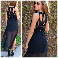 Jasmine Bay Black Lattice Back Maxi Dress