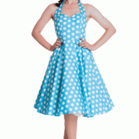 Stay fresh and girly with the Spring Potion Mariam 50's Pinup Dress by Hell Bunny. This sleeveless dress features large scale white polka dot print throughout against with aqua background, sweetheart neckline with seams over bust for shaping, adjustable th